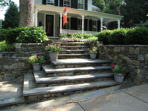 Cement or stone entry steps google search porticos for Outdoor front yard ideas