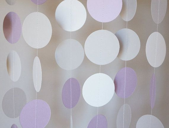 lavender gray and white paper garland wedding decor birthday party baby shower decorations nursery 10 feet long