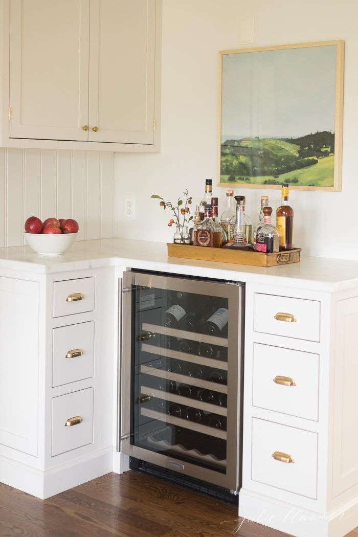 Classic Shaker Kitchen Cabinets With Nice Built In Wine Cooler