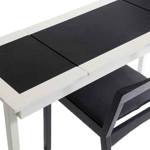 Olof skrivbord - Olof skrivbord - grå, svart läder