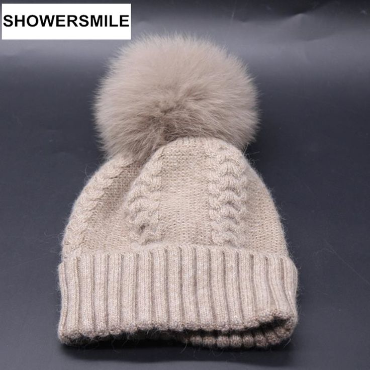 Wool Hats For Women Fox Ful Pompom Cap Knitted Beanies Winter Warm High Quality Solid Black Gray Khaki Navy Pink Female Hat
