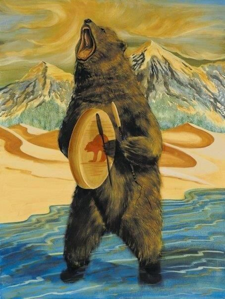 My husband, Richard's native name is Sky Bear.  This pic reminds me of him.  He makes & plays the hand drum & he growls a lot too.