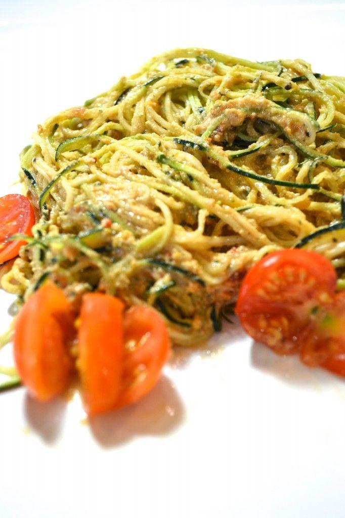 Raw Sundried Tomato Cashew Pesto Sauce & Zucchini Pasta