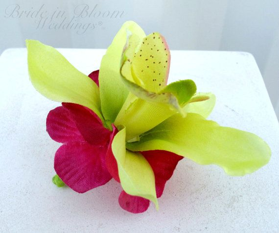 Orchid Boutonniere lime green hot pink by BrideinBloomWeddings, $10.00