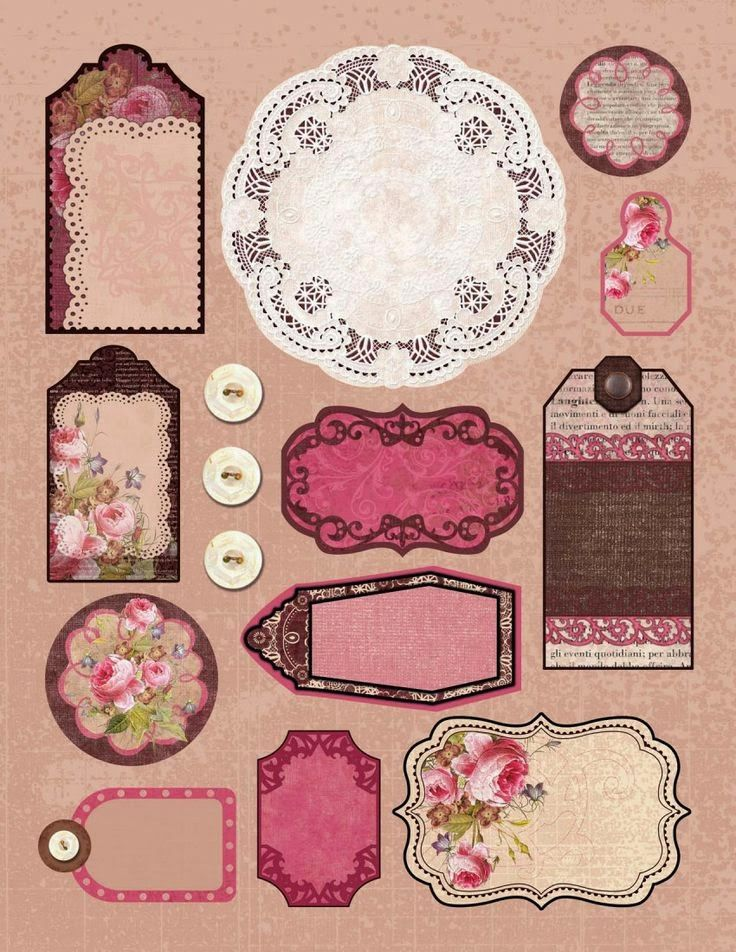doily, buttons, tags