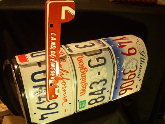 Recycled license plate mailbox by jamesnichols on Etsy, $80.00