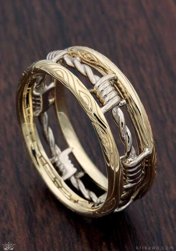 d29dc9d4caaf14 Barbed Wire Wedding Band in yellow gold and white gold. Customize yours in  the two metal you want! All are rings are handcrafted after being custom  designed ...