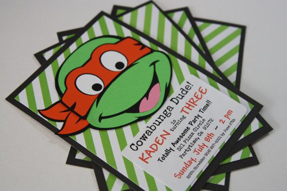 How totally awesome are these handmade TEENAGE Mutant Ninja TURTLES inspired Invitations? This TMNT Invite would be an awesome addition to any young