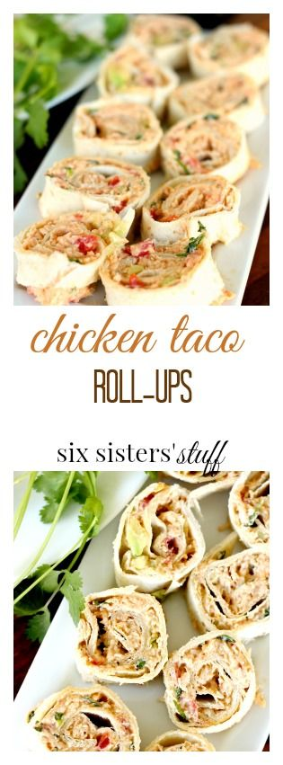 Chicken Taco Roll-ups from @sixsistersstuff | I am always looking for new lunch ideas because I get so sick of salads and sandwiches, but have no time to cook something delicious. This is a yummy, easy recipes that takes just minutes to whip up. And it's pretty healthy too so I don't feel gross after eating it, and it keeps me full on busy days!
