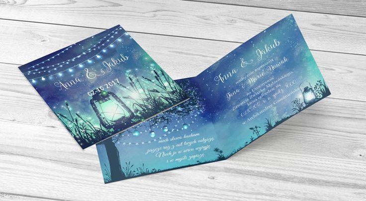 Zaproszenie ślubne światełka latarenka #light #laterns #invitation #wedding #niebieski #blue