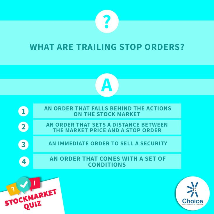 #ChoiceBroking #StockMarketQuiz : What are Trailing Stop Orders? 1) An order that falls behind the actions on the stock market 2) An order that sets a distance between the market price and a stop order 3) An immediate order to sell a security 4) An order that comes with a set of conditions