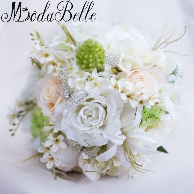 Rose Bridal Bouquet White Artificial Wedding Bouquets With Crystal Pearls Flowers Brooch Bouquets Ramo De Novia De Cristal 2017