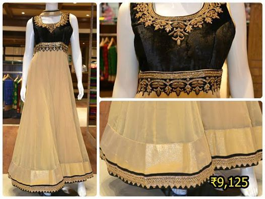 Win admirers and turn heads with this stylish black & cream georgette-velvet anarkali.