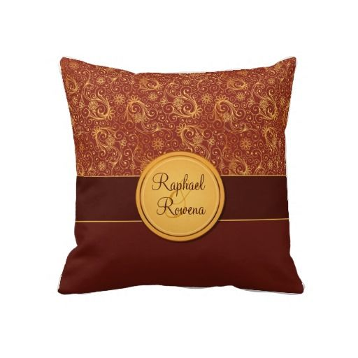 Decorative Burgundy & Gold Monogram Throw Pillow Cream, Burgundy and Monograms