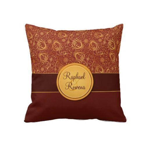 Decorative Burgundy & Gold Monogram Throw Pillow Cream, Burgundy and Monograms