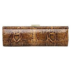 B LOTUS - Cork Snake Print Clutch Bag