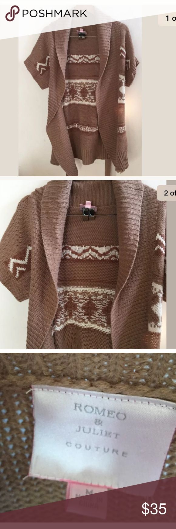 Romeo & Juliet Couture Sweater Cardigan Tribal M Brand: Romeo & Juliet Couture  Material: wool and acrylic  Color: camel and pearl  Pattern: Tribal Knit  Closure: Belt  Condition: EXCELLENT condition!  D16/17 Romeo & Juliet Couture Sweaters