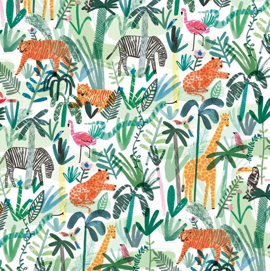 Wrap magazine  This graphical pattern is very creative with the use of colour and style. It definitely would suit a younger audience and could be created handmade or digital. Some o fate animals would look quite effective as print.