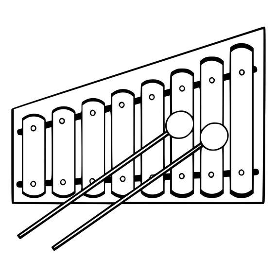 Xylophone Rubber Stamp Mounted Wood Block Art Stamp Etsy Xylophone Coloring Pages Art Block