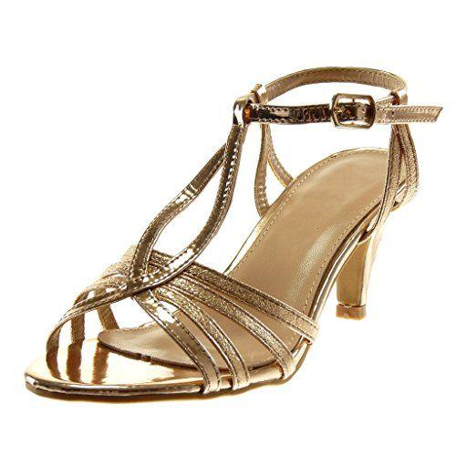 122ec5f731d0a9 Angkorly Chaussure Mode Sandale Escarpin Salomés Lanière Cheville Stiletto  Femme Verni Grainé Brillant Talon Haut Aiguille
