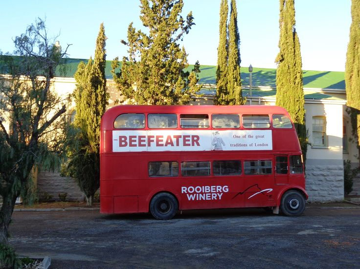 The red London town bus in Matjiesfontein - shortest city tour in South Africa, only 10 minutes!