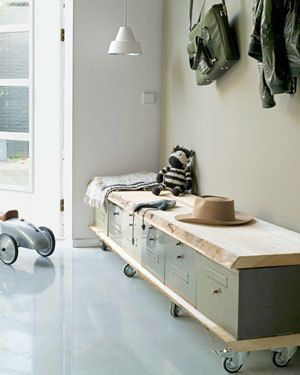 Hallway storage/seat idea. Love the olive colour