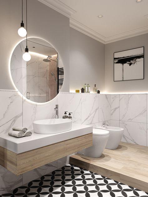 Salle de bain moderne avec meubles en bois, carrelage graphique noir et blanc et…