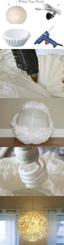 Diy decor :) also cover light wi th freeze dried.flowers or.dye coffe.filters one of ur wedding colours