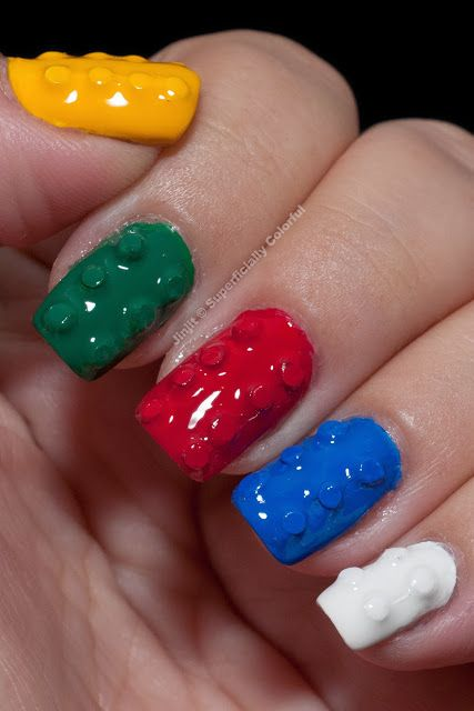 DIY : 3D LEGO Nails - If you ♥ LEGO®, come and have a look at the crowdest LEGO® LOVE group board http://www.pinterest.com/yourfrenchtouch/lego-love #MademoiselleAlma #LEGO