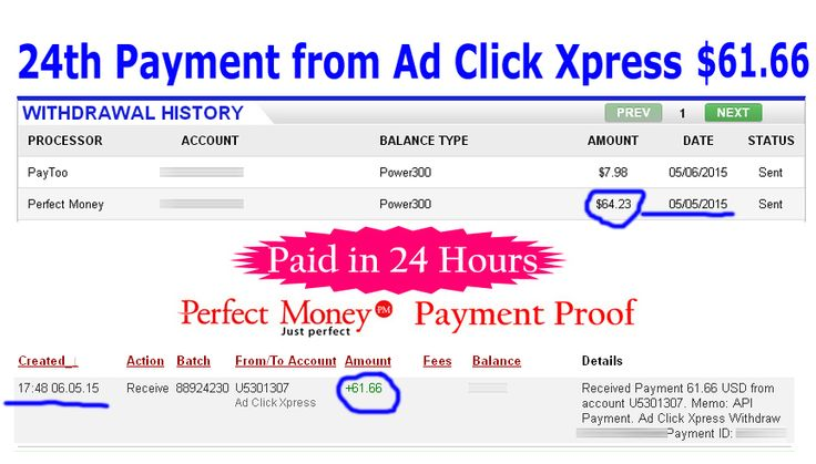 Ad Click Xpress is Paying	 My 24th Payment $61.66 to PerfectMoney Earn 4% daily: http://www.adclickxpress.com/?r=xSpueJXBJ6&p=mx