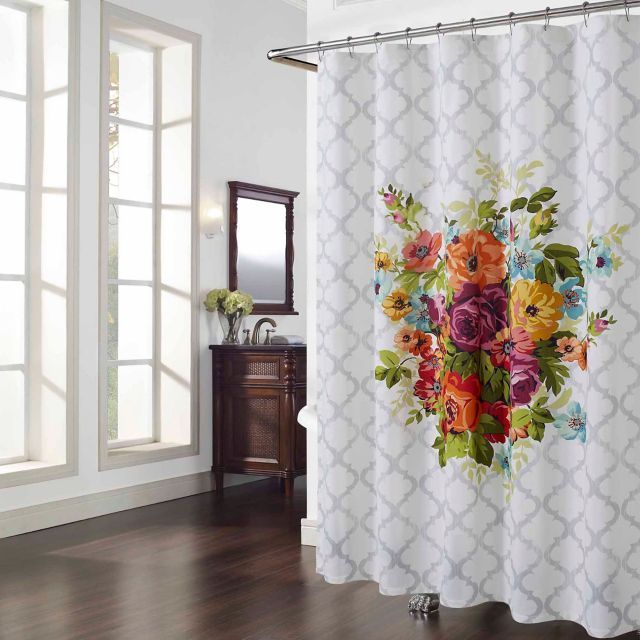 The Melissa Multicolor Floral Shower Curtain Features A Big And Bold Floral  Print With A Moroccan Lattice Pattern All Over For A Subtle Contrast.