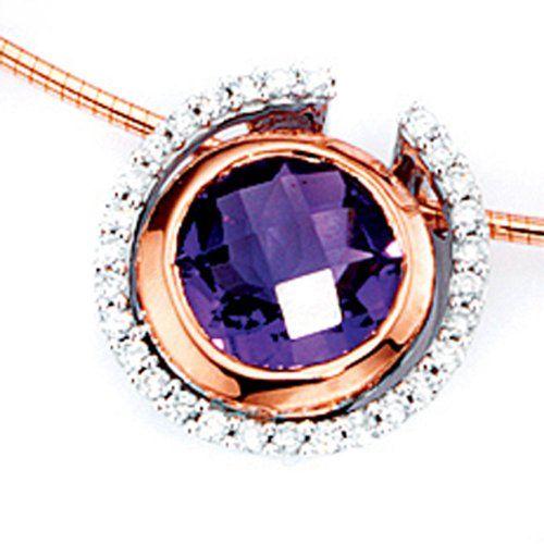 Damen-Anhänger teilros%C3%A9vergoldet 14 Karat (585) Weißgold 1 Amethyst 29 Diamant 0.20 ct. Dreambase http://www.amazon.de/dp/B0097QHBHS/?m=A105NTY4TSU5OS