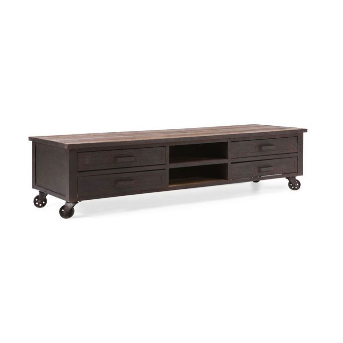 """The oversized wheels on this media center are more than just an attractive touch—they mean this one-stop media shop is ready for anything. It holds up to a 76"""" TV, with four deep drawers to keep everything hidden. And with handsome, sturdy fir wood construction, it will stand up to anything as well!"""