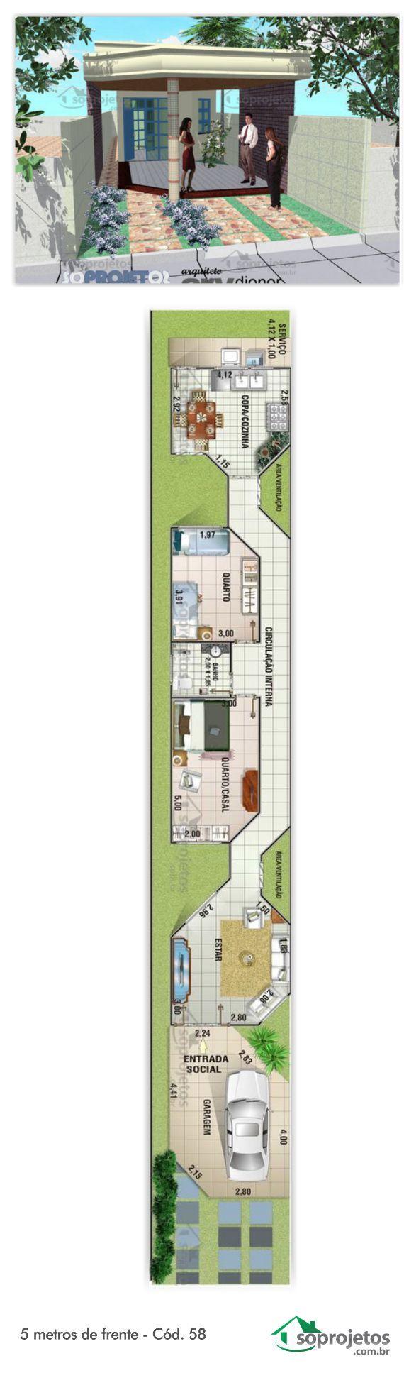 Projeto de casa com 2 dormitórios. Sala de estar e um amplo banheiro. Cozinha com copa para almoço diário. Possui garagem para 1 veículo, com área de 22 m² Área ajardinada na frente da casa.