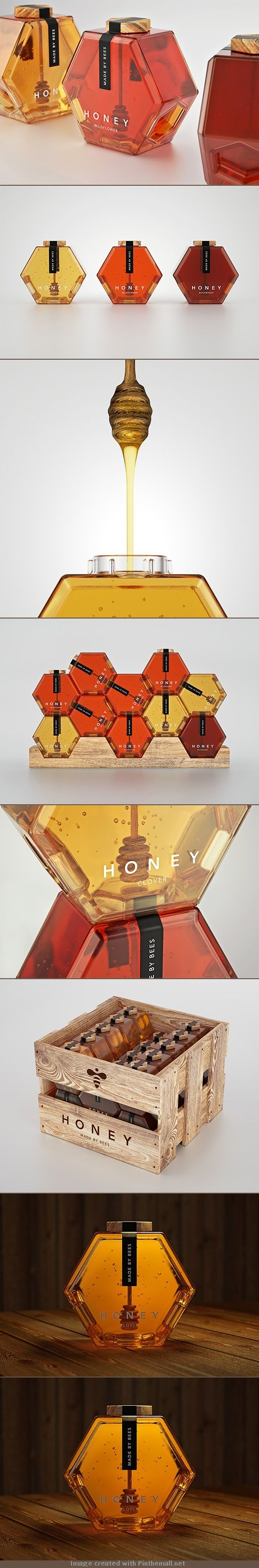 Honey Packaging Concept by Maksim Arbuzov Russian designer Maksim Arbuzov created this gorgeous honey packaging concept inspired by the simple geometric forms of honeycombs. via The Design Ark Source : http://theinspirationgrid.com/honey-packaging