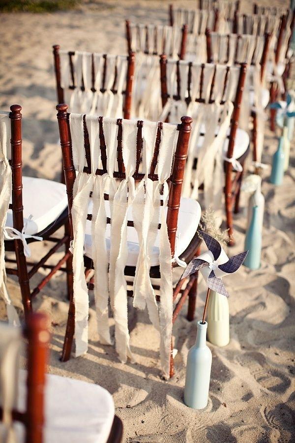 Beach wedding chair decor - Decorazioni sedie matrimonio in spiaggia