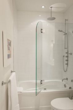 Small bathroom with soaker tub with glass.shower enclosure - Google Search
