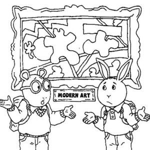 Arthur And Buster Dont Understand The Modern Art Coloring Page