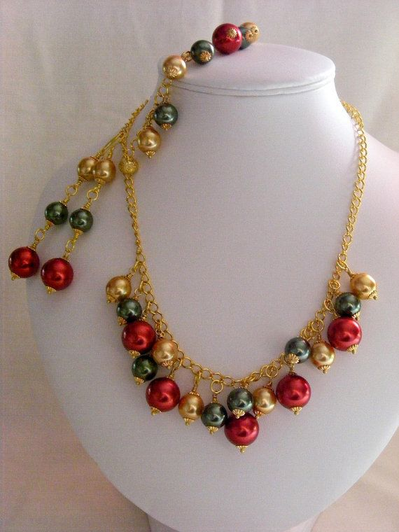 Red Gold and Green Pearl Jewellery Set by carolsmalleydesigns