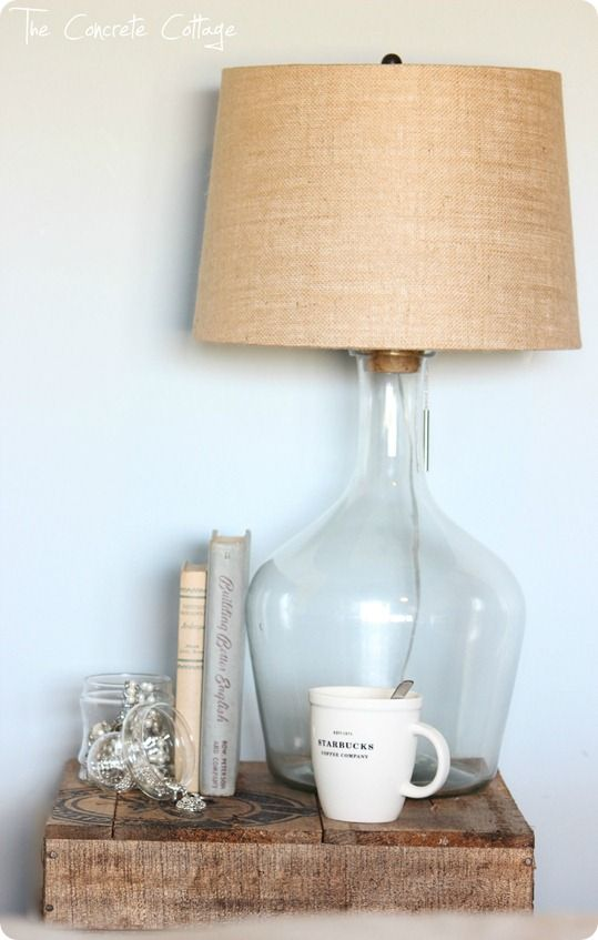 Pottery Barn knockoff Glass-Jug-Bottle-Lamp-Burlap-Shade