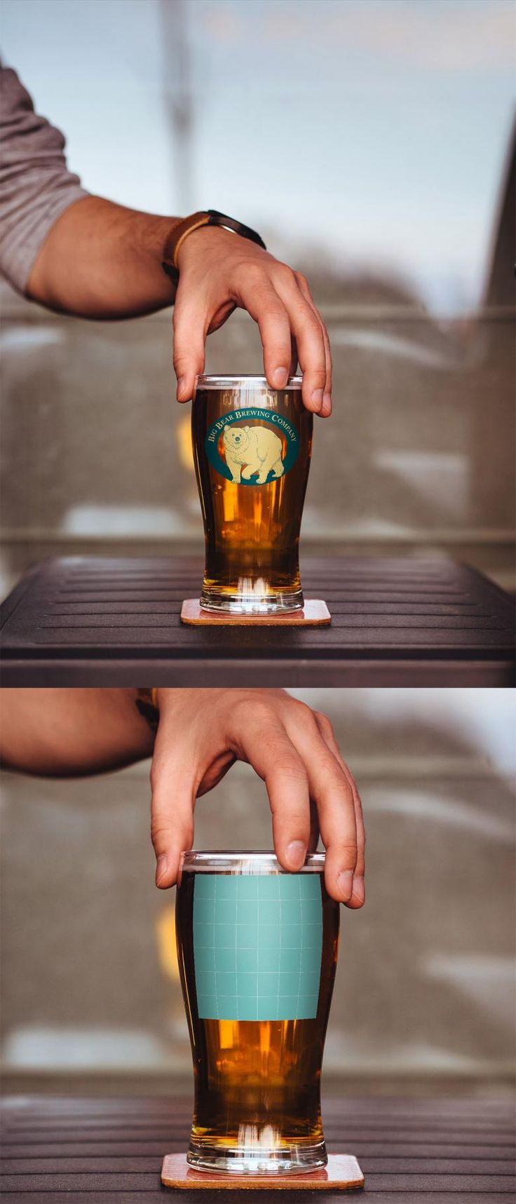 Free Beer Glass Logo Mockup