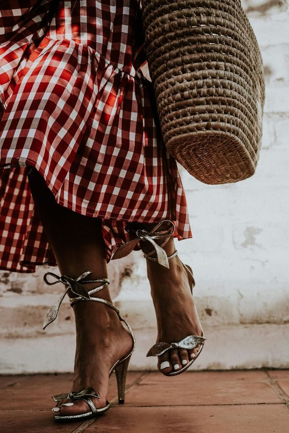 Gingham and a straw bag