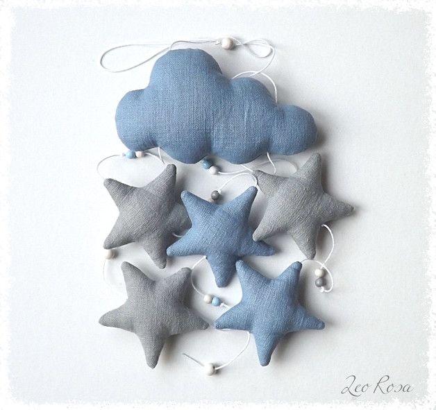 Dekoration - Leinengirlande Mobile Wolken mit Sternen - ein Designerstück von…
