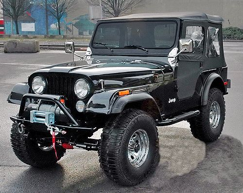 Oh damn, son. 1977 Jeep CJ-5. Black on black on black. Yum.
