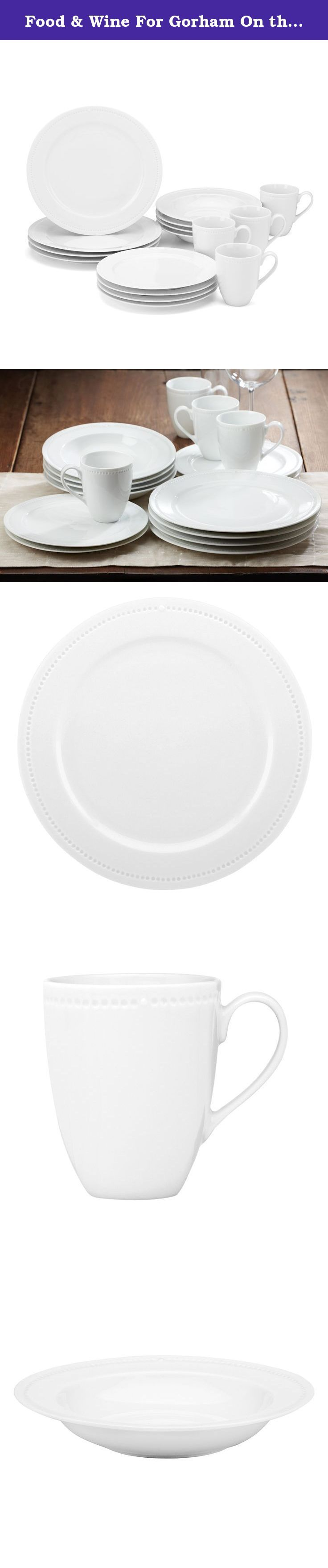 """Food & Wine For Gorham On the Dot 16-Piece Dinnerware Set. Plating food is an important aspect of a chef's artistry. Thinking of the plate like a clock, chefs assemble food with the top of the plate at 12 o'clock. The raised dot on these simple but elegant plates marks that spot and helps anyone put food on the table worthy of a chef. Crafted of high quality white porcelain. Dishwasher-safe, microwave-safe and oven-safe. Service for four includes four 10.5"""" dinner plates, four 9"""" salad..."""