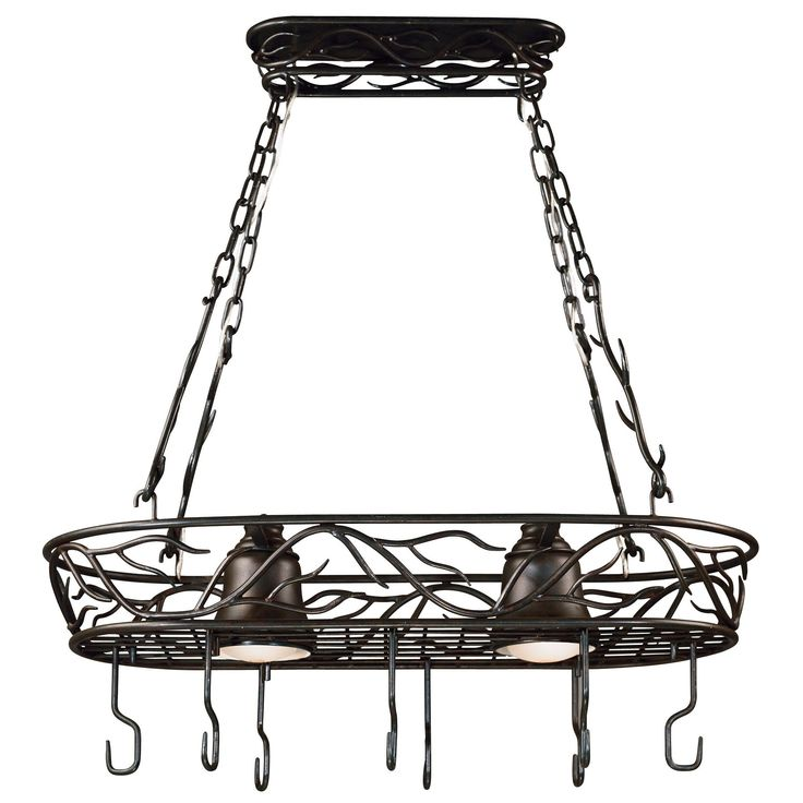 Inspired by nature, this elegant pot rack blends the vibrancy of a climbing vine with the soft glow of two lights. The Twiggie pot rack is ideal for both Asian-influenced and rustic or country-style rooms.