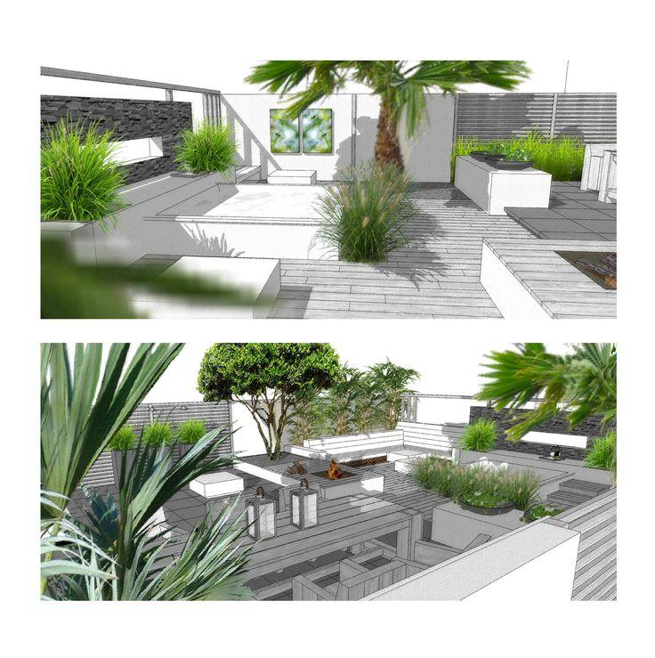 Tuinontwerp onderhoudsvriendelijke, moderne mediterrane tuin in Maarssen #Platoflex #SketchUp