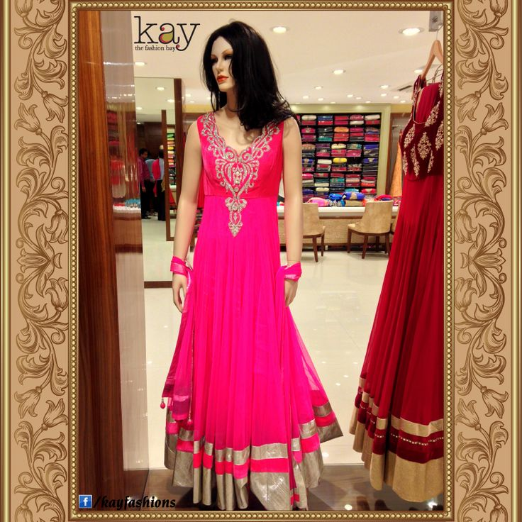 Ramzan Special: Craft meets desire in this vibrant pink anarkali with stone-ornated velvet yoke and netted floor length kalis punctuated by broad pink and silver borders! http://www.kayfashions.in/#!/ #fashion #indian #weddings #bridal #lehenga #ghagra #anarkali #salwar #designer #ethnic #boutique #chennai #shopping #triplicane #dress #clothes #traditional #saree #sari #silksaree