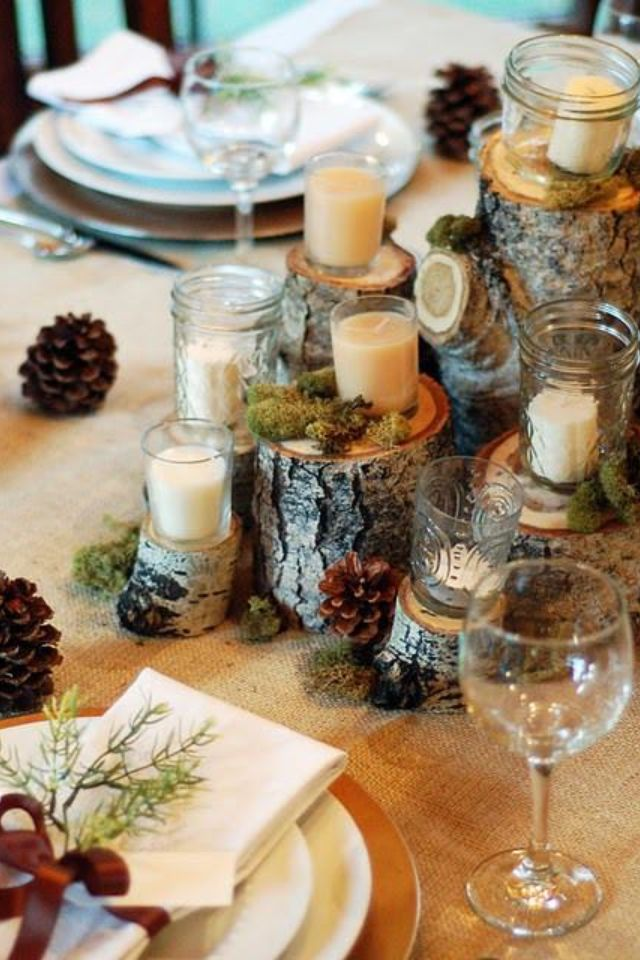 Birch Stump Candle Display for Fall/Winter