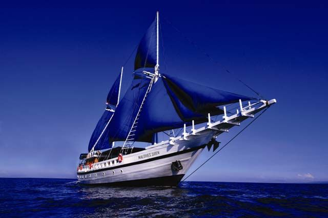 A traditional Indonesian 'gaft-rigged Phinisi'. Custom-made with all the luxury facilities for diving in the Maldives.